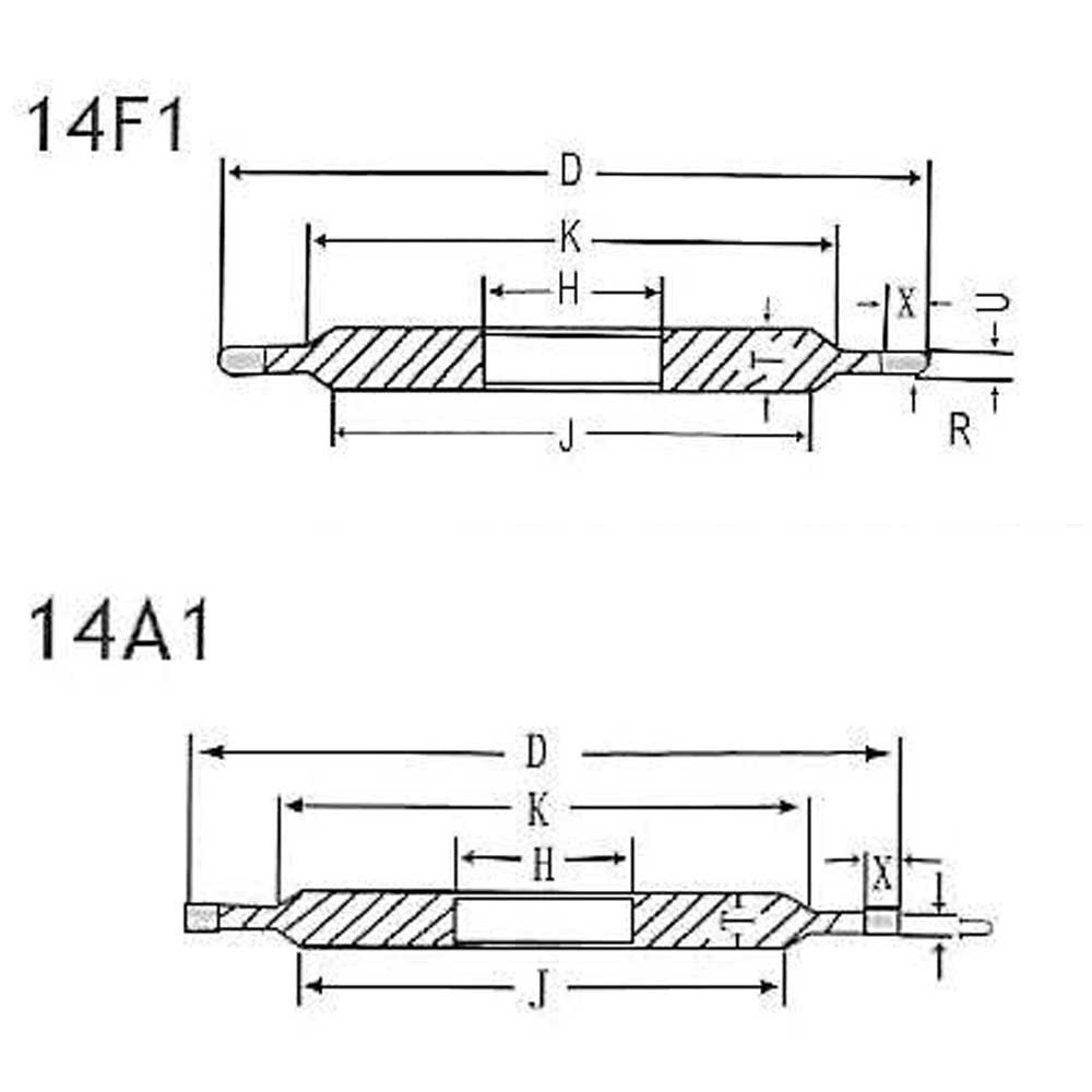 Grinding wheel 14A1 and 14F1 drawing