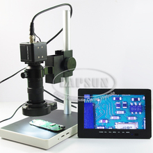 8X - 120X Industrial Industry Microscope Video Camera Set BNC AV Output  + C-mount Lens + LED Ring Light + 7 Inch LCD Monitor