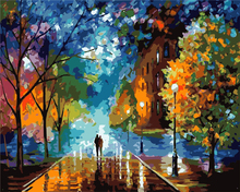 Frameless Tree Street Painting Picture By Number DIY Handpainted Wall Arcylic Paint Landscape Gift 40X50 cm Coloring By Number(China)