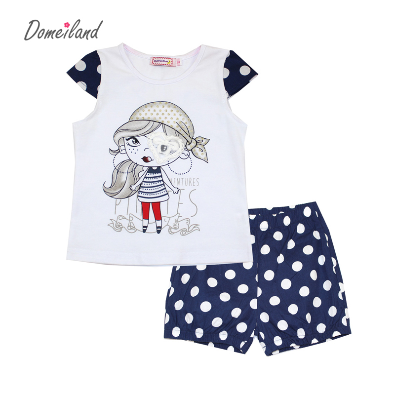 2017 fashion brand domeiland summer girl clothing set outfits cute baby kids cotton short sleeved cartoon tops dot shorts suits<br><br>Aliexpress