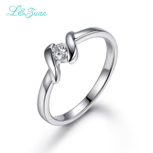 L&zuan 18K White Gold Ring 0.123ct Natural Diamond Trendiest Rings Fine Jewelry For Women