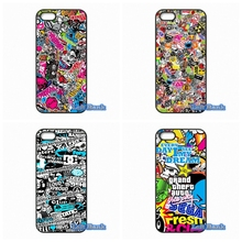 JDM Car Graffiti Sticker Bomb Phone Cases Cover For Apple iPhone 4 4S 5 5S 5C SE 6 6S 7 Plus 4.7 5.5 iPod Touch 4 5 6