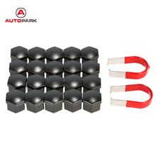 Universal 17mm Car Wheel Nut Cover Chrome Plastic Nut Cover Bolt Cap Black Wheel Lug Nut Center Cover Caps + Removal Tool