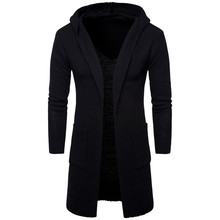AOWOFS 2017 New fashion mens cardigan sweaters Casual long coat Autumn hooded Knitted Sweaters Europe and America Sweatercoats(China)