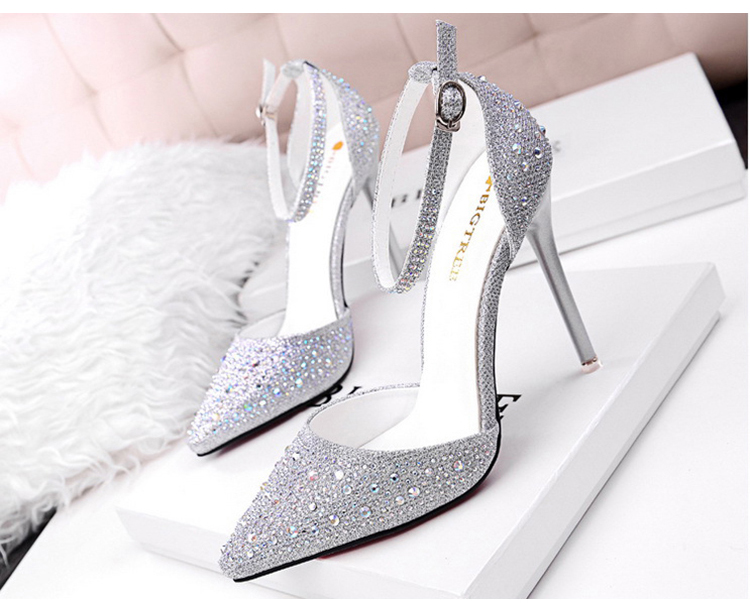 Women Pumps Sexy High Heels Shoes Woman Silver Rhinestone Wedding Shoes High Heels Party Shoes Summer Hight Heels Sandals 4