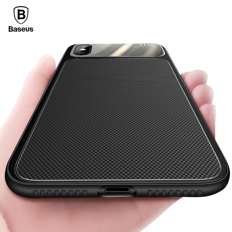 Baseus Luxury Case iPhone X 10 Soft TPU & Screen Protector Tempered Glass Knight Back Cover Case iPhone 8 7 Plus Coque