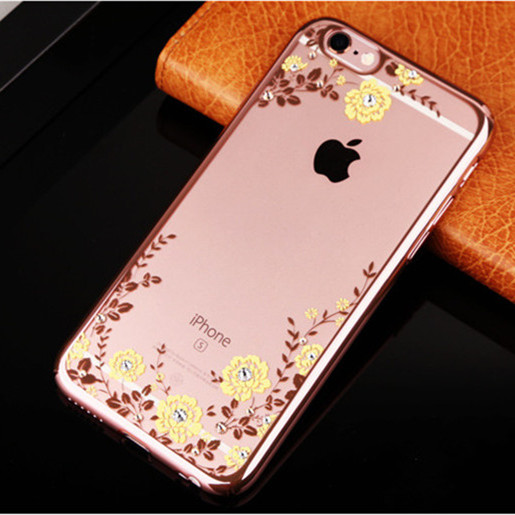 For iPhone 5 SE 5S 6 6s 6plus 6s Plus Transparent Hand Made Star diamond Rose Back Covers Case Thin Soft Silicon(China)