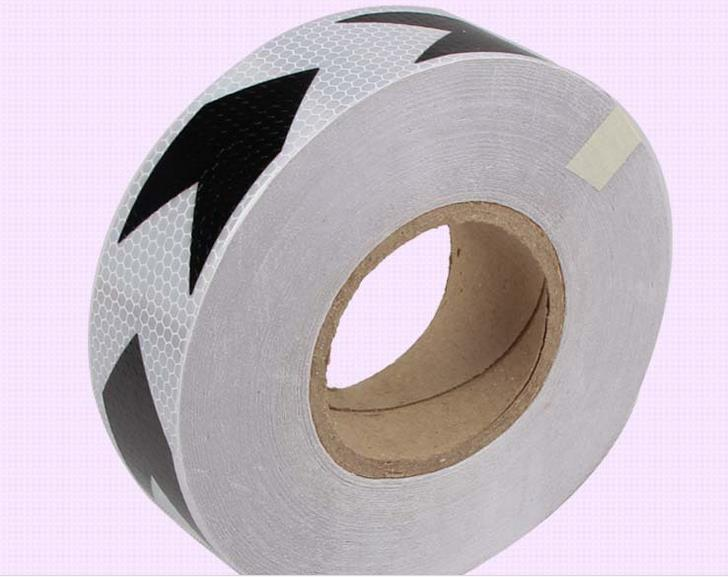 5cm*50M white black arrow reflective self-adhesive safety warning tape road traffic guidepost reflective adhesive film<br>