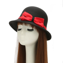 Fashion Autumn Winter Fedora hats for Women vintage Big bow bowler ladies felt top hat for girls homburg female hat caps(China)