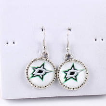 10pcs NHL Dallas Stars Earrings New York Islanders Ice Hockey 18mm Glass Cabochon Dangle Long Earrings for Women Fashion Jewelry
