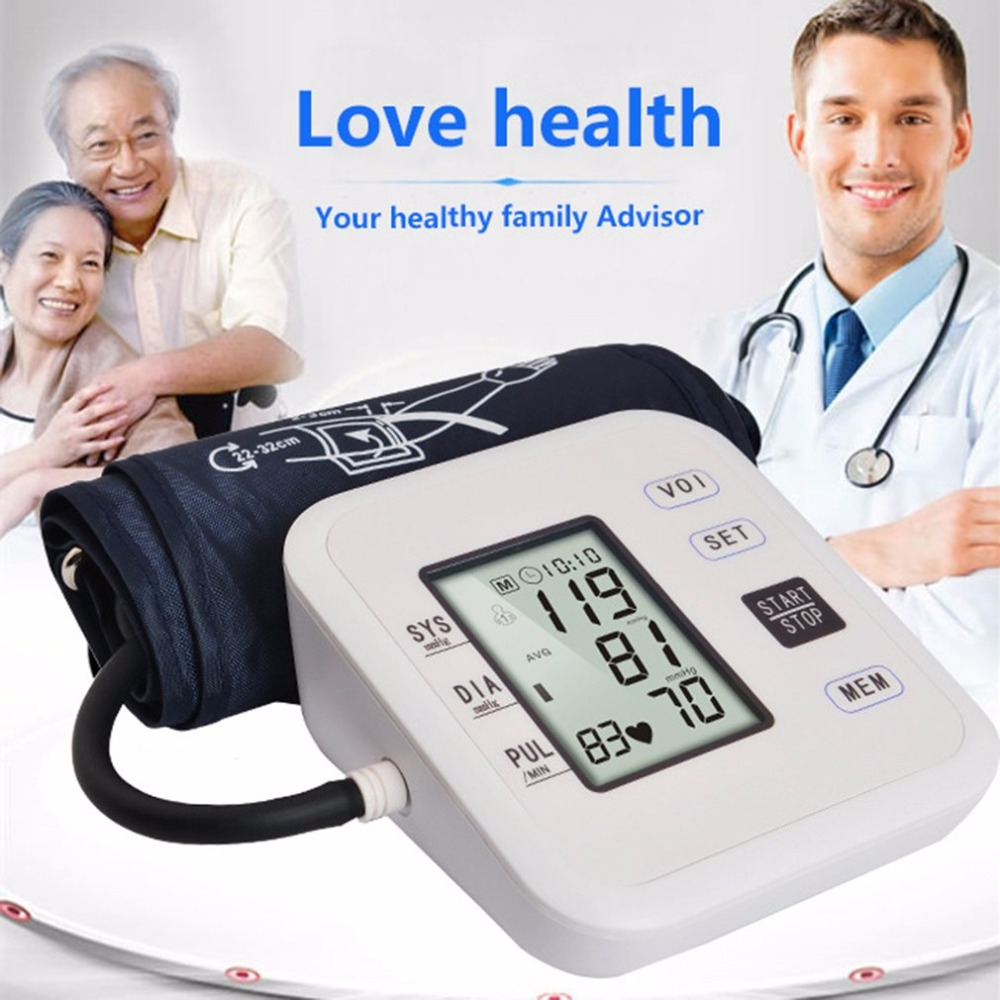 Arm Type Rechargeable Voice Tonometer Smart Digital Blood Pulse Pressure Monitor Health Care Household Sphygmomanometer Hot New 1