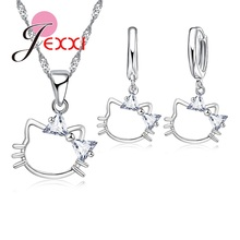PATICO Animal Cat Kittie Design Silver Jewelry Set For Women AAA Crystal Necklace Pendent Earrings For Girl Bijoux Femme