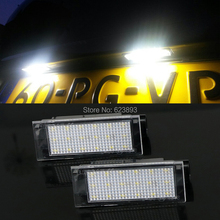 Free shipping,2x Error Free White LED number License Plate Lights For Renault Megane III 3