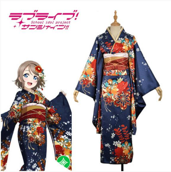 Free shipping Anime LoveLive!Sunshine!! COSPLAY Watanabe You COS Halloween Party COSPLAY kimono Costumes Sets