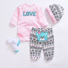 2017 Fashion baby Clothing Sets cotton Cute baby girl clothes Newborn boy suit 4pcs long sleeve infant bodysuits+pants+socks+hat(China)