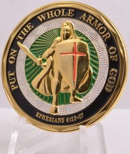6pcs/LOT  Put on the Whole Armor of God Challenge Coin - Nice - Colorized - Limited Stock