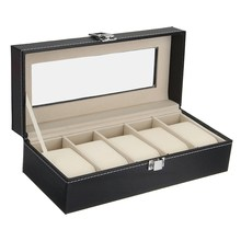 Watch Box 5 Grid Leather Black Display Case Storage Organizer Box Holder Jewelry Collection Luxury Composite Materials