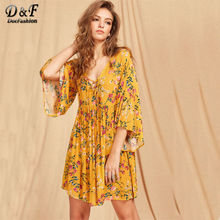 Dotfashion Lace Up Plunge Neck Kimono Sleeve Botanical Smock Dress 2017 New Woman Yellow 3/4 Sleeve A Line Short Dress(China)
