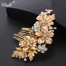 Miallo Wedding Bridal Hair Combs Vintage Crystal Hairpins Prom Jewelry Gold Silver Plated Flower Pattern Hair Accessories(China)