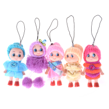 New Toys Soft Interactive Baby Dolls Toy Key Chain, Doll Keychain For Girls Key Ring Key Holder Mobile Phone Straps(China)