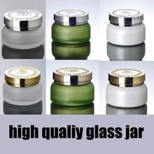 30g 50g matte bottle with silver/gold cap glass cosmetic containers cream jar,Frosted glass bottle for cosmetic packaging