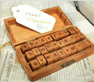 Free shipping wholesale NEW (50pcs/box) Creative Lowercase &amp; Uppercase Alphabet wood rubber stamps set Wooden box<br><br>Aliexpress