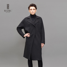 BASIC EDITIONS Fashion Elegant Women Long Wool Coat Black Grey Retro Female Overcoat Women Cashmere Woolen Overcoat EH120(China)
