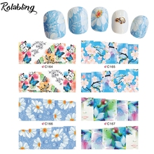 Popular Clear And Comfortable Blue Flowers Series Water Slide Decal Paper Manicure Products Decorate Fingernails For Nail Art