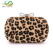 MLITDIS 2017 new winter banquet hand Austria ladies crystal diamond bow leopard chain strap drop shipping(China)