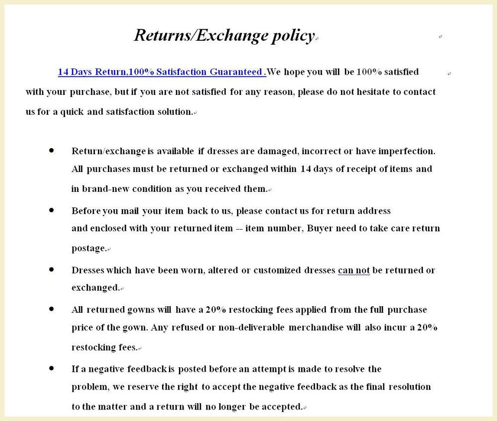 return or exchange terms