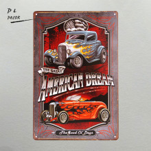 DL-American Dream Hotrod vintage Car CARTEL de chapa de Metal poster print shabby chic Decoración de La Pared Bar Restaurante casa de Garaje decoración