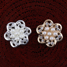 30pcs  Bling Wedding Rhinestones Pearl Button Flatback DIY Buckle Hot Craft Jewelry Accessory Sewing Craft