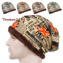 Free Shipping Unisex Men Women Retro Loose Baggy Winter Beanie Knit Skull Cap Thick Villi Lined Ski Cap