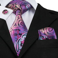 Mens Tie Purple Paisley Silk Jacquard Neck Ties Hanky Cufflinks Set Business Wedding Party Ties For Men C-638