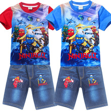 4-9Years Old Ninjago Children Kids Clothing Sets Summer Cotton Boys Tops Tees And Jeans Pants Clothing Suits(China)