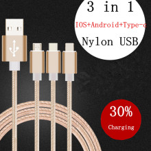 New Type-C & Micro & IOS & Android USB Cable With Braided Stylus Cables USB Charger For Samsung S7 S7 edge Micro Usb Cable
