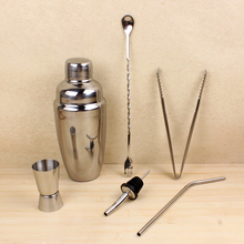 Stainless Steel Cocktail Shaker Suit Six Sets of Bar Tools Shaking Snow Manual Vacuum Wine Stopper Wine Filter Jigger Vino JJ015