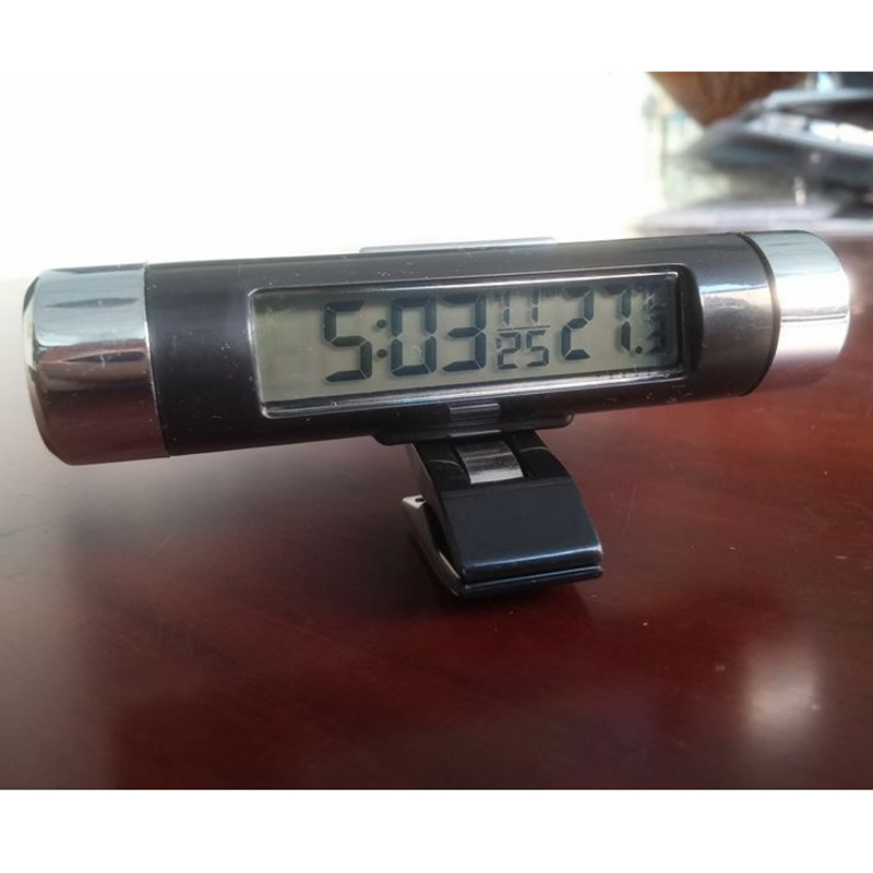 High Quality Clip on Car LCD Digital Display Thermometer Blue Light Backlight Month Date Electronic Thermometer Clock