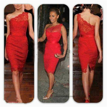 Delicate Lace Homecoming Dress One Shoulder Short Holiday Party Gown Custom Fitted Red Cocktail Dress