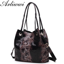 Arliwwi Brand Designer Shiny Snake Grain Fashion Women Luxurious Shoulder Bags 100% Real Leather Bucket Style Embossed Handbags(China)
