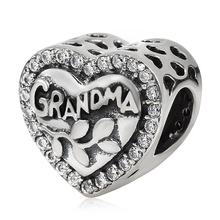 100% real 925 Sterling Silver Grandma heart charm beads with cubic zirconia Fit Pandora bracelets jewelry