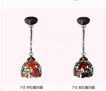 Free Shipping Tiffany Novelty Rose Design Pendant Child Bedroom Pendant Lamp for Balcony Home Decoration AC E27 100% Guaranteed