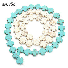 SAUVOO 25pcs/Strand Flat Blue White Natural Stone Bead Cross Beads 15mm for DIY Bracelet Necklace Charm Bead Finding F1185