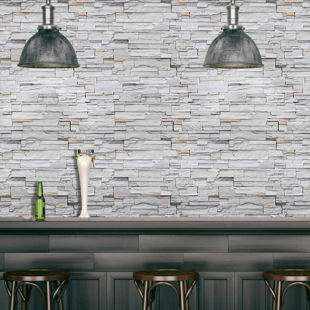 Pe 3d Stone Brick Panel Wall Sticker 45x100cm Home Decor