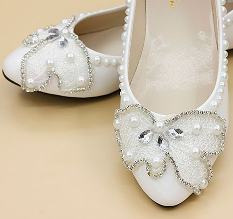 Wedding flat shoes for woman milk white light ivory PR666 pearls rhinestones luxury brides bridesmaid party flats womens<br>