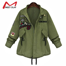 2017 Women Military Bomber Jackets Female Fashion Embroidery Army Green Denim Coats Ladies Autumn Outwear Plus Size 5XL YL012(China)