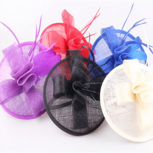 17Colors fashion fancy feather hair fascinators wedding hair bands elegant women sinamay church millinery hats coktail headwear(China)