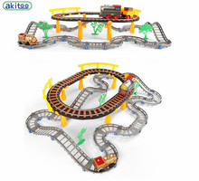 New arrival akitoo Double Track Experience Edition Thomas Assembled Electric Rail Car Train Gift Set Children's Educational Toys