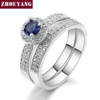 18 K Oro Blanco Plateado Anillo De Zafiro Conjunto Wedding & Engagement Ring Set de Joyería de Moda Para Las Mujeres con Cristal Austriaco ZYR506