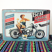"SYF-308  Retro vintage Metal tin signs"" best garage for motorcycle"" plaque Painting wall decor art craft sticker 20x30cm"